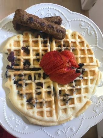 Blueberry Protein Waffle and Turkey Sausage